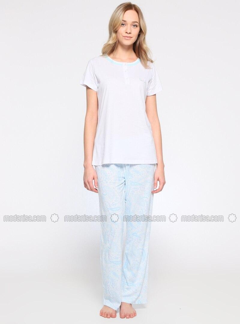 Multi - Crew neck - White - Pyjama -  Pijama