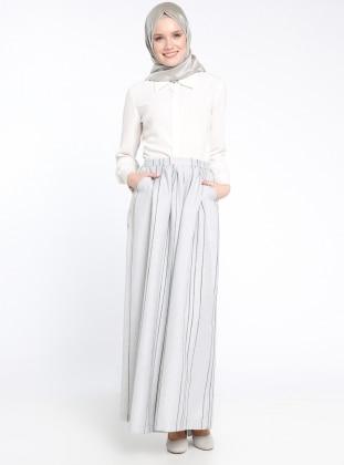 Çizgili Pantolon Etek - Açık Gri
