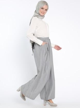 Çizgili Pantolon Etek - Gri