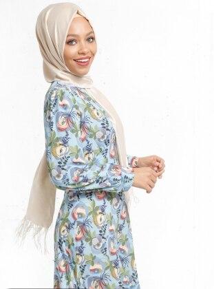 Refka Desenli Elbise - Mavi
