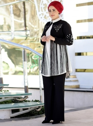 Black - White - Crew neck - Fully Lined - Plus Size Evening Suit