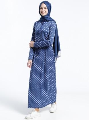 Puantiyeli Elbise - İndigo Beyaz