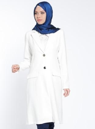 Şal Yaka Ceket - Ekru