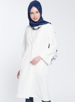 Beha Tek Düğmeli Ceket - Beyaz