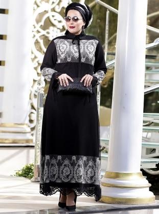 Tül Dantelli Abiye Elbise - Siyah Gri