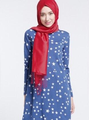 Yıldız Desenli Tunik - Mavi Beyaz