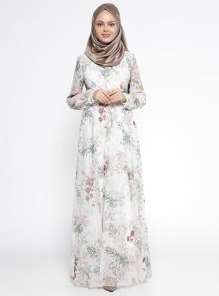 Çiçek Desenli Elbise - Krem