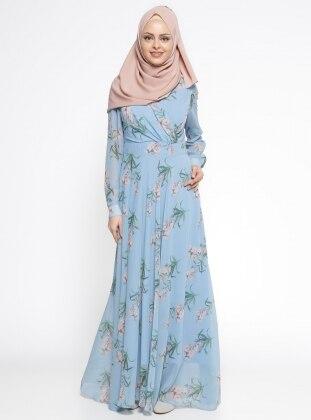 Çiçek Desenli Elbise - Mavi