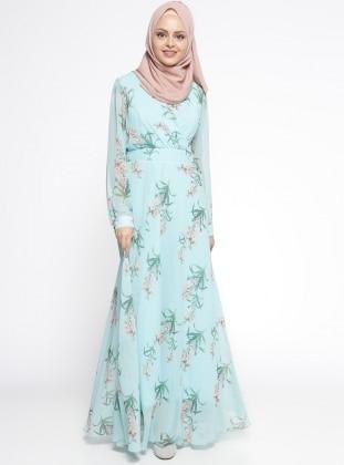Çiçek Desenli Elbise - Mint