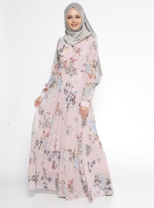 Çiçek Desenli Elbise - Pudra