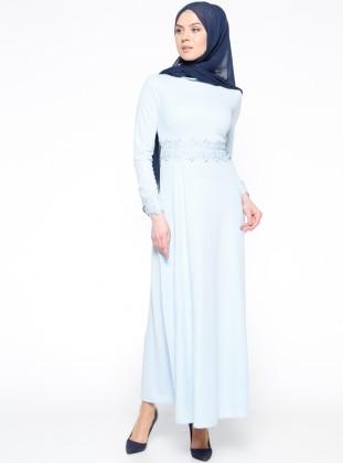 Güpür Detaylı Elbise - Bebe Mavisi