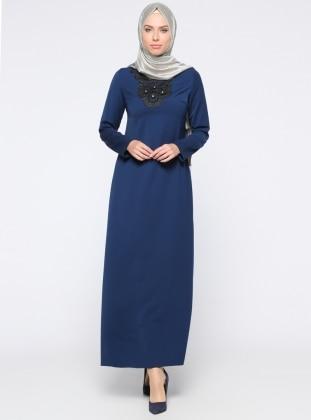 Güpürlü Taş İşlemeli Elbise - Lacivert Zinet