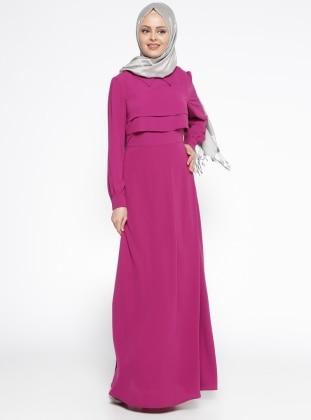 Eva Fashion Volan Detaylı Elbise - Erguvan