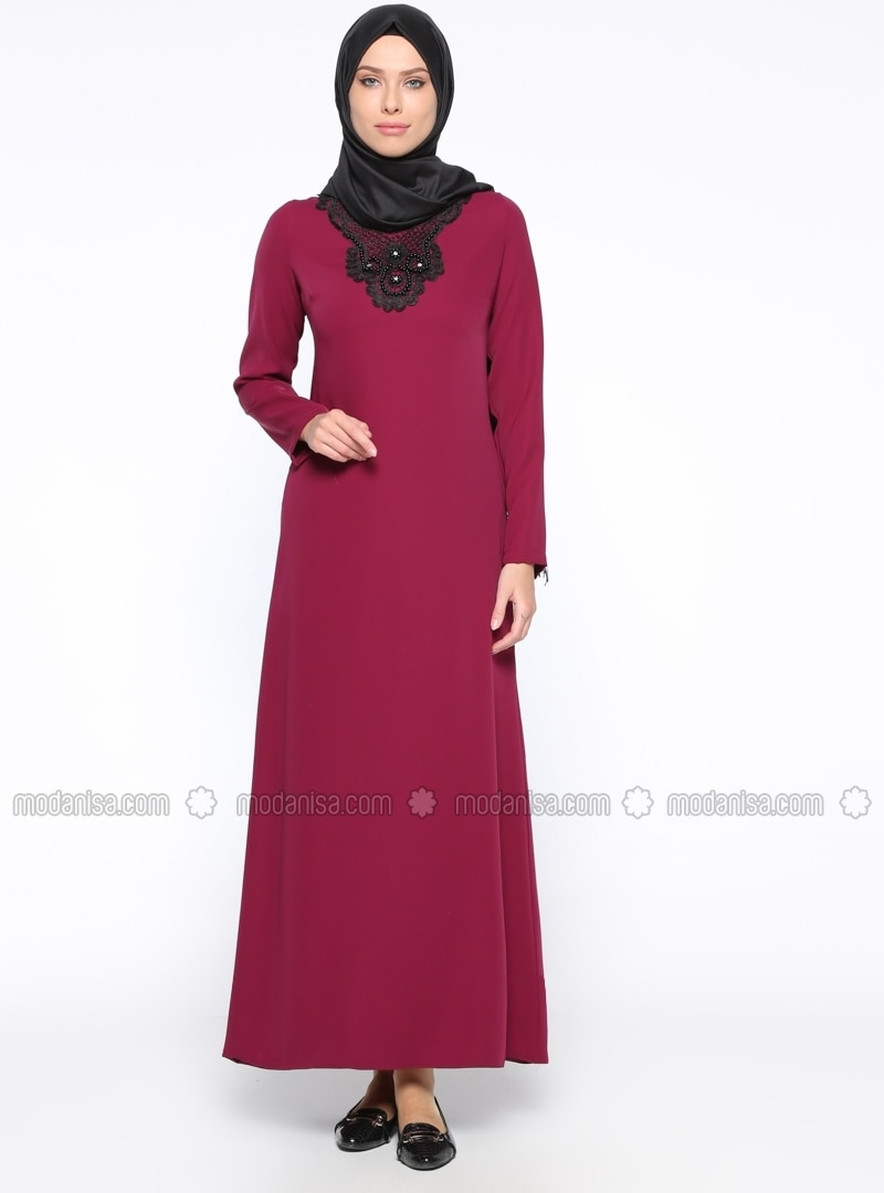 Purple - V neck Collar - Unlined - Dress