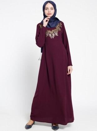 Boncuk İşlemeli Hamile Elbise - Mürdüm Havva Ana