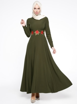 Güpür Detaylı Abiye Elbise - Haki