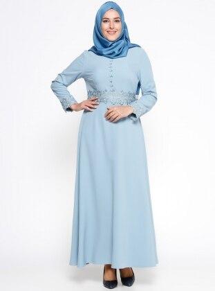 Güpür Detaylı Elbise - Mavi