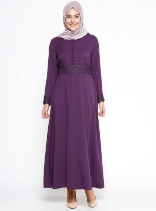Güpür Detaylı Elbise - Mor