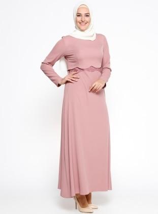 Güpür Detaylı Elbise - Pudra