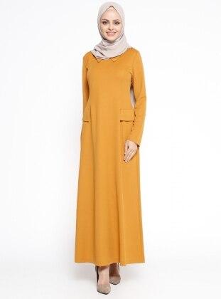 Sivri Yaka Elbise - Hardal