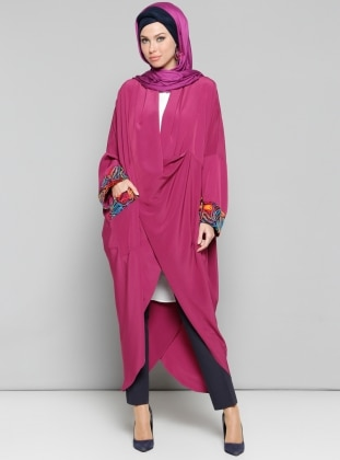 Pink - Unlined - V neck Collar - Abaya