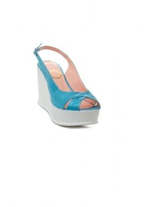 dolgu topuk ayakkabı - mavi - ayakkabı havuzu