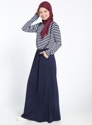 Beli Lastikli Elbise - Lacivert