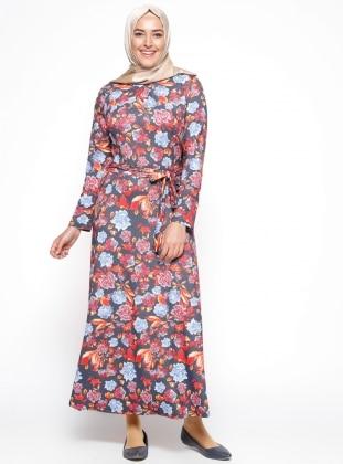 Çiçekli Elbise - Turuncu Lacivert