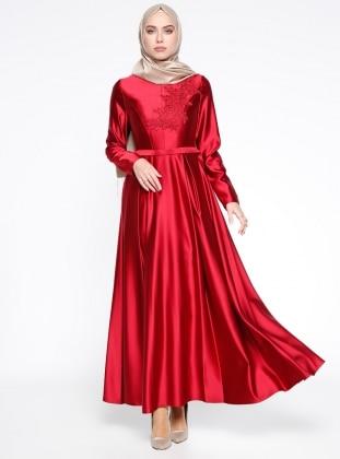 Dantel Detaylı Abiye Elbise - Kırmızı