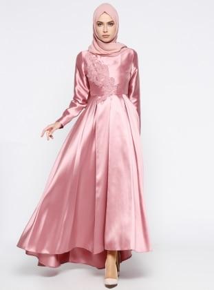 Güpür Detaylı Abiye Elbise - Pembe