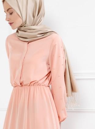 İnci Detaylı Elbise - Pudra