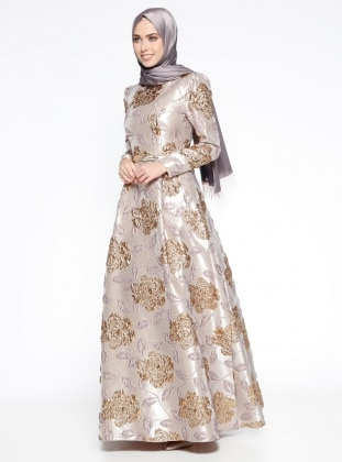 Jakarlı Abiye Elbise- Pudra Gold
