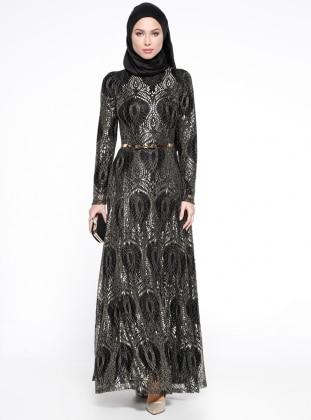 Kemerli Abiye Elbise - Siyah