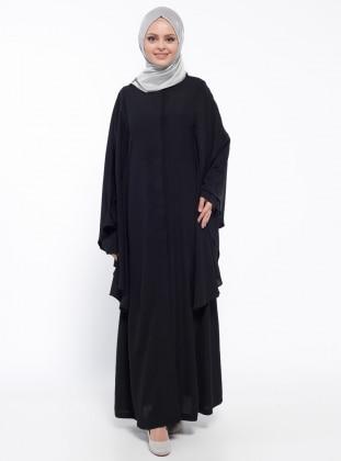 Yarasa Kollu Abaya - Siyah