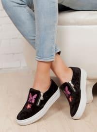 Ayakkabı - Siyah Nakışlı- Ayakkabı Havuzu