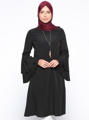 Panaline Kolyeli Tunik - Siyah