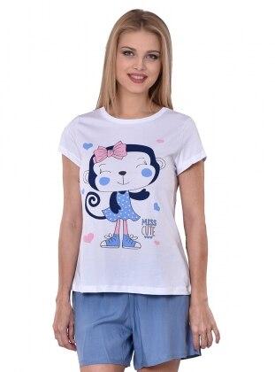 Şortlu Pijama Takımı - Mavi - I&D LINGERIE
