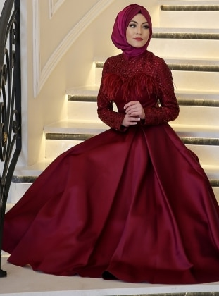 Maroon - Fully Lined - Crew neck - Muslim Evening Dress - Minel Ask 295686