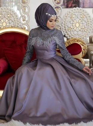 Yakamoz Abiye Elbise - Gri