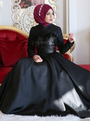 Black - Fully Lined - Crew neck - Muslim Evening Dress - Minel Ask 295684