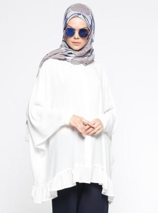 Yarasa Kollu Salaş Tunik - Beyaz