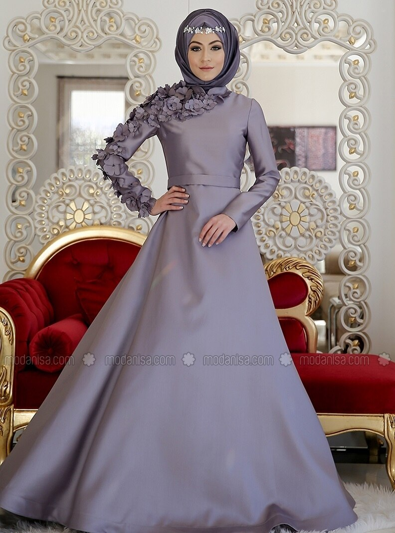 Crew neck - Fully Lined - Gray - Muslim Evening Dress