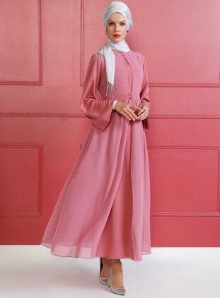 Pink - Crew neck - Unlined - Dress - Mood