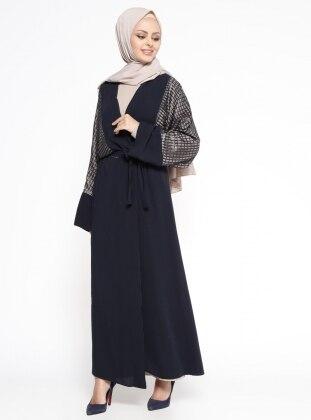 Elbise&Abaya İkili Takım - Lacivert Bej