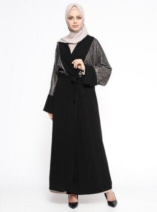 Elbise&Ferace İkili Takım - Siyah Bej
