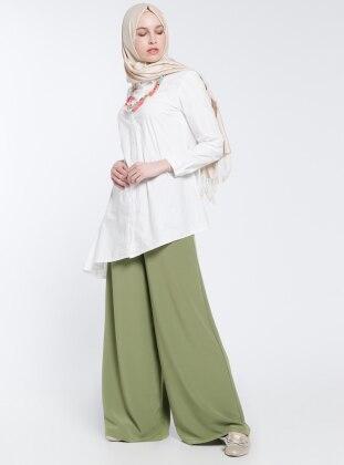 Geniş Paça Pantolon - Yeşil