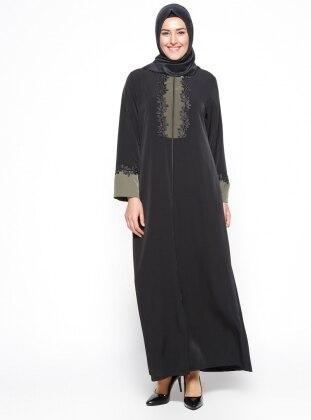 Güpür Detaylı Ferace - Haki Siyah