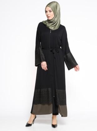 Güpür Detaylı Abaya - Siyah Haki