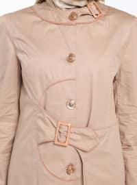 Camel - Unlined - Crew neck - Cotton - Topcoat