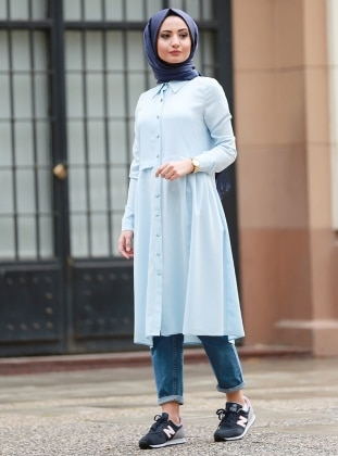 Aura Pileli Tunik - Mavi